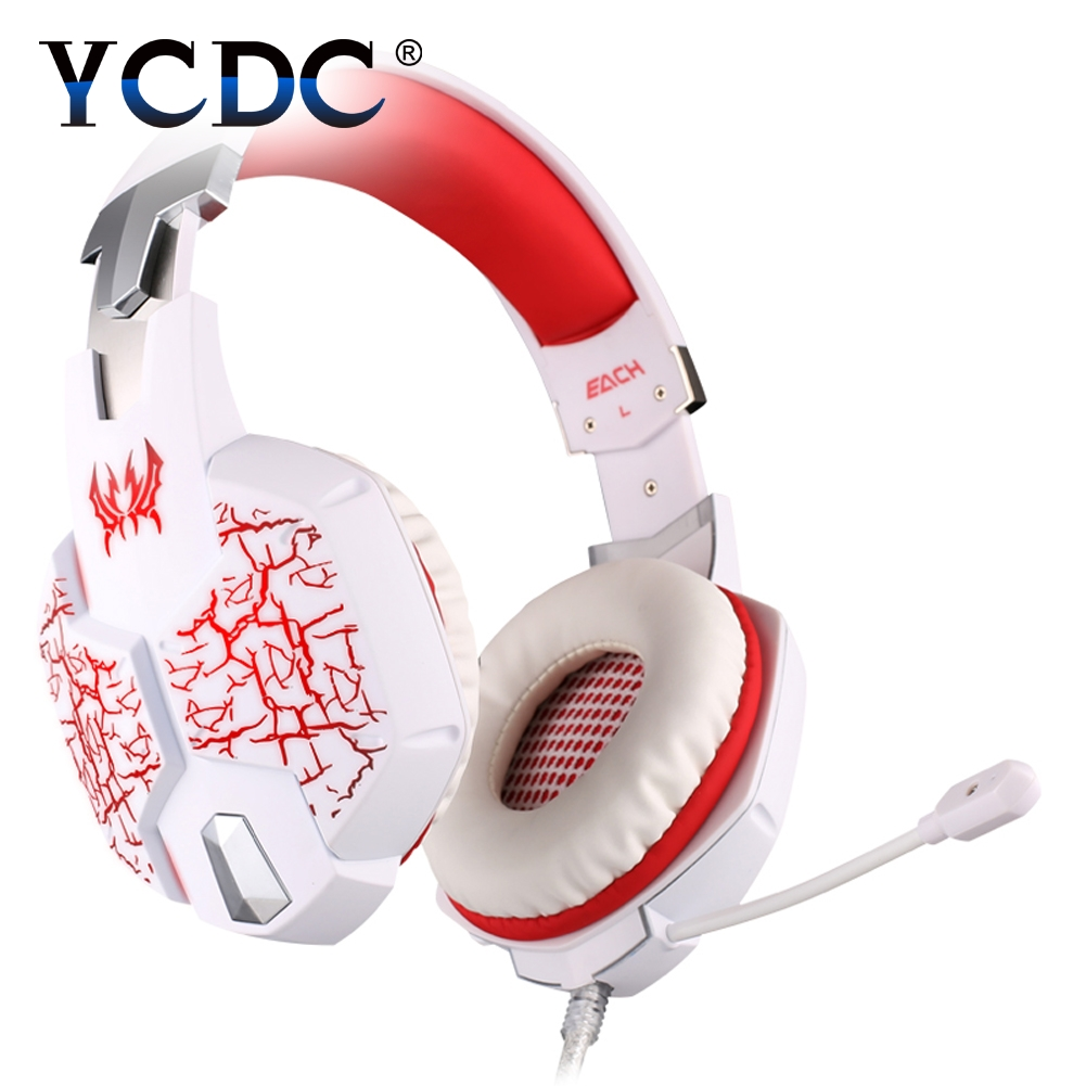 YCDC 3.5mm Over Ear Stereo Gaming Headset Adjustable Gamer USB Headband with Mic Headphone for PC Computer each g8200 gaming headphone 7 1 surround usb vibration game headset headband earphone with mic led light for fone pc gamer ps4