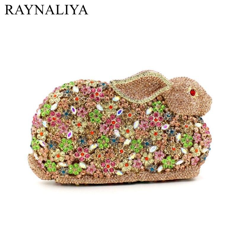 Woman Brand Fashion New Cute Noble Diamond Colorful Rabbit Character Dinner Bag Vintage Handbag Lady Evening Bags Smyzh-e0224