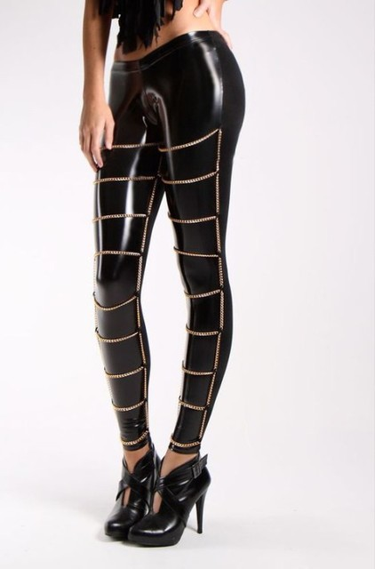 5f8422 Sexy Fetish Leggings Fashion Leggings For Women Leather Like Wet Look Gold Chain Trims Leggings Free Shipping