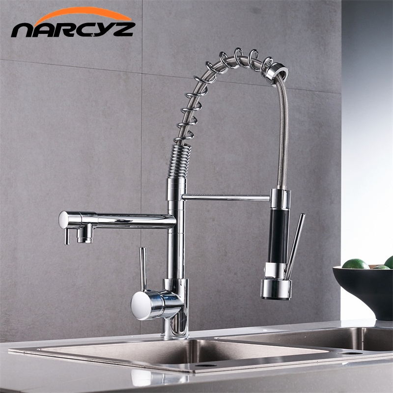 2016 new chrome finish spring kitchen faucet two swivel spouts mixer tap hot and cold hose soap dispenser Chrome Spring Pull Down Kitchen Faucet Dual Spouts 360 Swivel Handheld Shower Kitchen Mixer Crane Hot Cold 2 Outlet Spring Taps