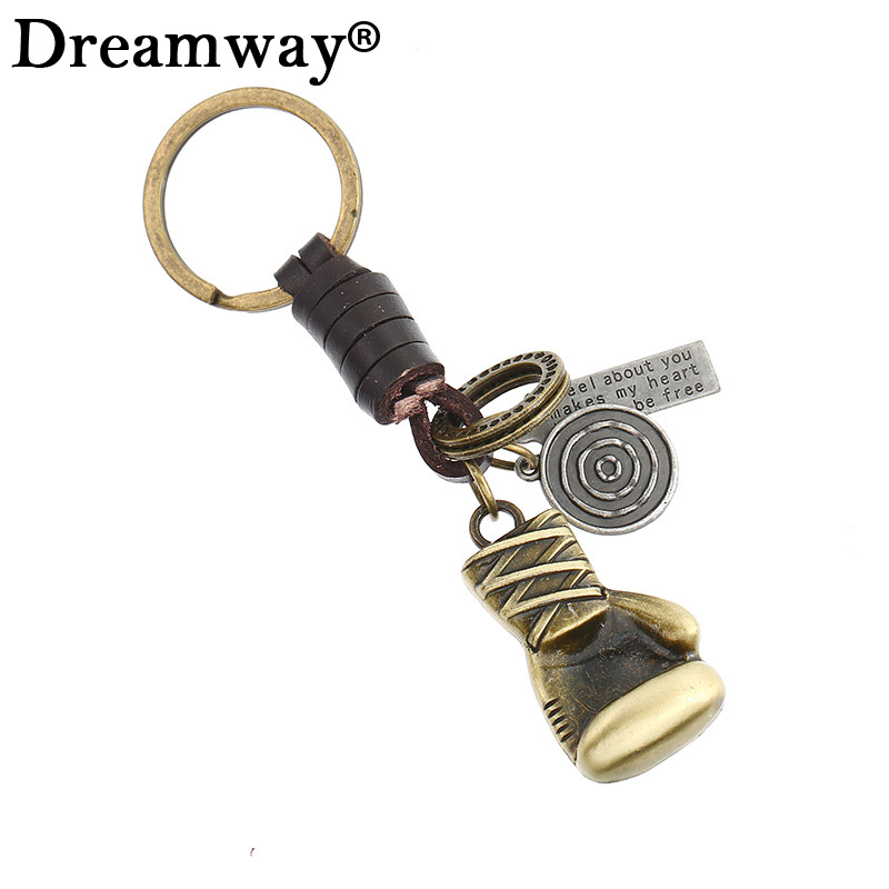 Alloy car key chain creative promotional pendant leather key chain antique bronze plated Fist sleeve key ring for boxer gift
