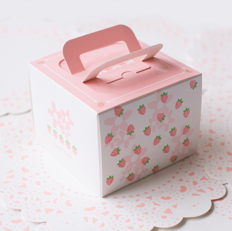 Free shipping bakery package pink strawberry decoration 4 for Application box decoration