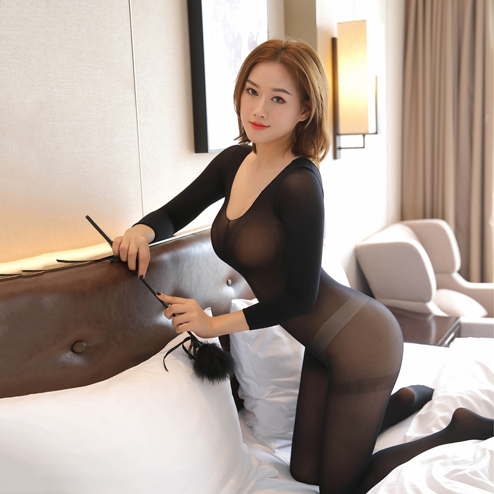 2020 Sexy Crotchless Sheer Bodystocking Full Body Pantyhose Ultra-thin Transparent Long-sleeve Open Crotch Strap Tights Stocking