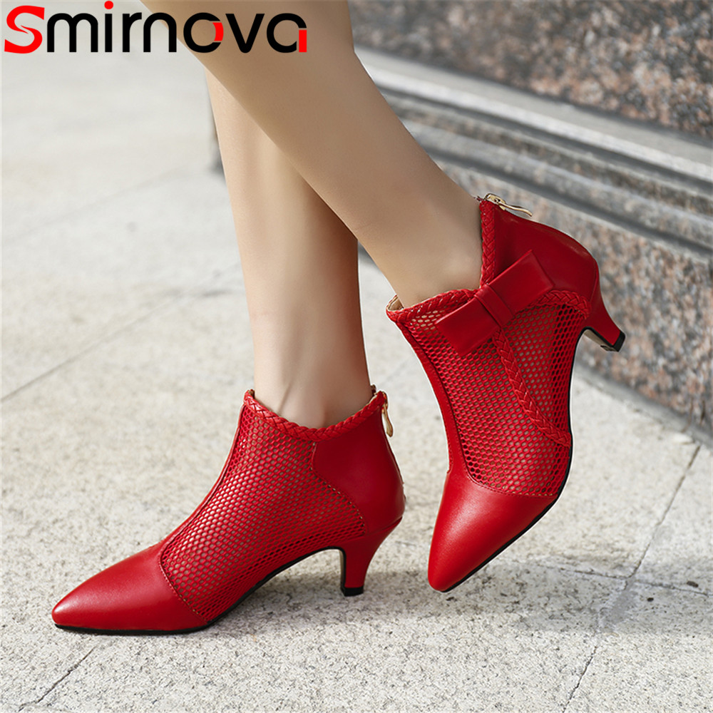 Smirnova black red fashion summer new shoes woman pointed toe zip ladies boots Hollow out genuine leather med heels ankle boots breasted hollow out zip up teddy
