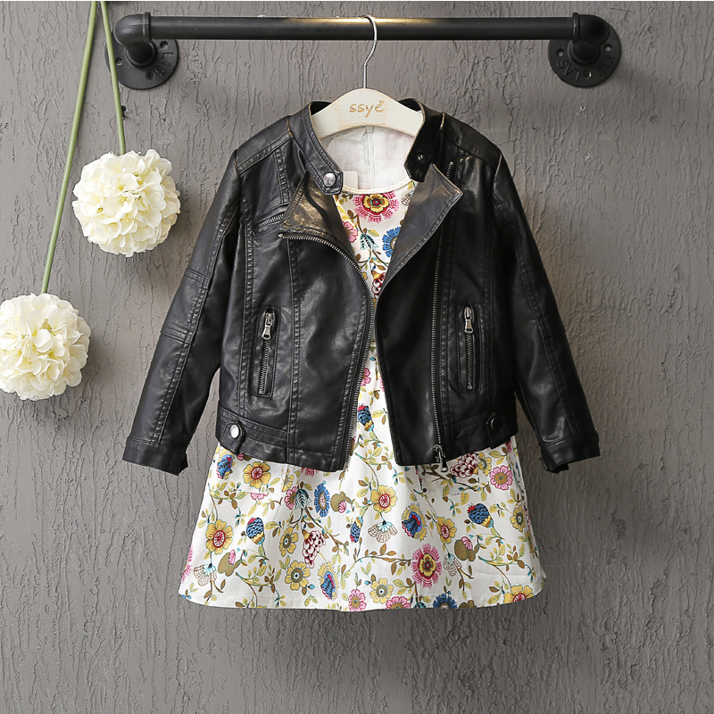 Baby Girls Clothes Long Sleeve Kids Jacket Fashion PU Leather Children Outwear Spring Coat Solid Girl Jackets