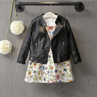 New Arrived Baby Girls Clothes Long Sleeve Kids Jacket Fashion PU Leather Children Outwear Spring Coat