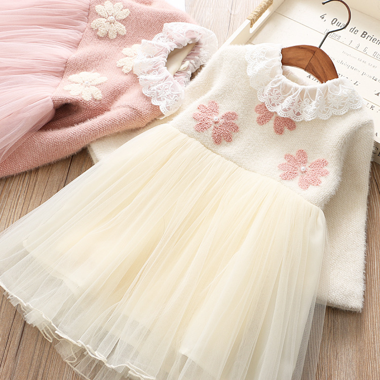 2018 New Girl Baby Winter Flower Dress Kids Girls Lace Mesh TUTU Princess Dresses Children Party Birthday Clothes Wholesale