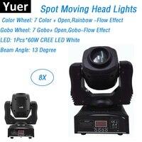 8XLot CREE LEDS Mini 60W LED Moving Head Gobo Light LED Dj Spot Lights DMX512 Control Led Dj Xmas Sound Active DMX Disco Lights