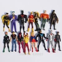 15pcs/set Super Hero Superman Green Lantern Batman Wonder Women Action Figures PVC Toys 10cm Free Shipping