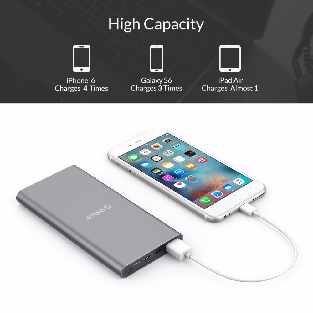 ORICO 10000mAh Power Bank Type-C Dual Output External Battery Fast Charger For Samsung Xiaomi Huawei Tablet