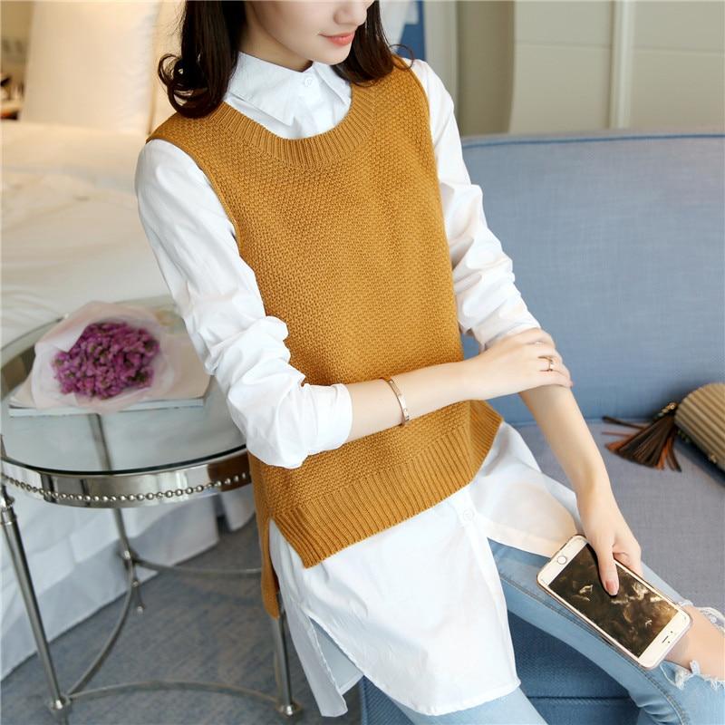 26 chaleco 44 camisa de primavera nueva versión Coreana del suéter antes de la espalda corta larga de vuelta con mujeres F1747
