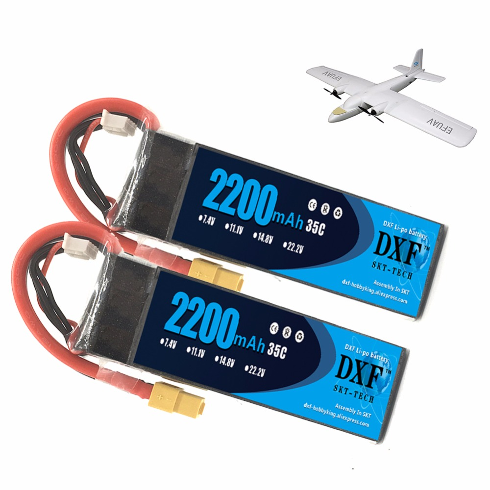 2pcs DXF <font><b>Lipo</b></font> Battery 11.1V <font><b>2200mAh</b></font> 30C Max 60C for RC Trex 450 Fixed-wing Helicopter Quadcopter Car AKKU <font><b>3S</b></font> <font><b>Bateria</b></font> image