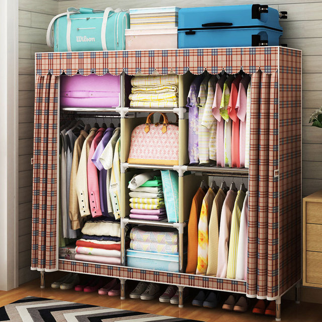 Oxford Cloth Wardrobe 25mm Steel Pipe Thicken Reinforcement Large Closet Diy Embly Fabric Storage Cabinet