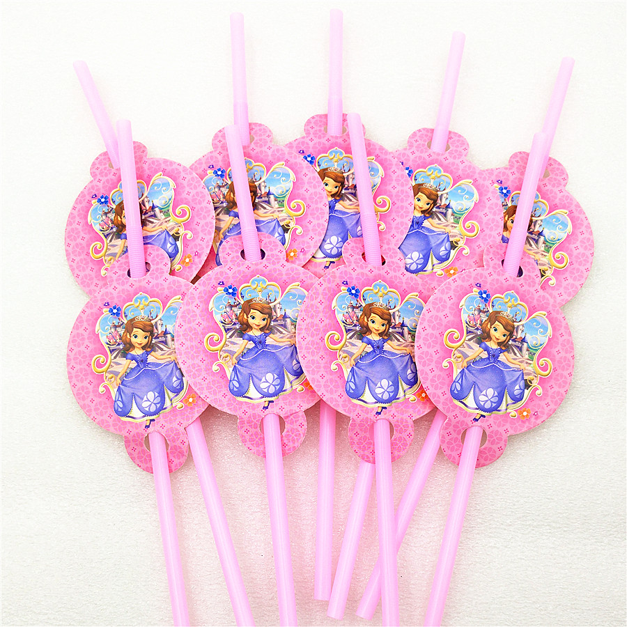10pcs/lot Sofia Princess Party Supplies Theme Party Straws Supplies Kids Girls Boys Birthday Party Drinking Straws Decorations