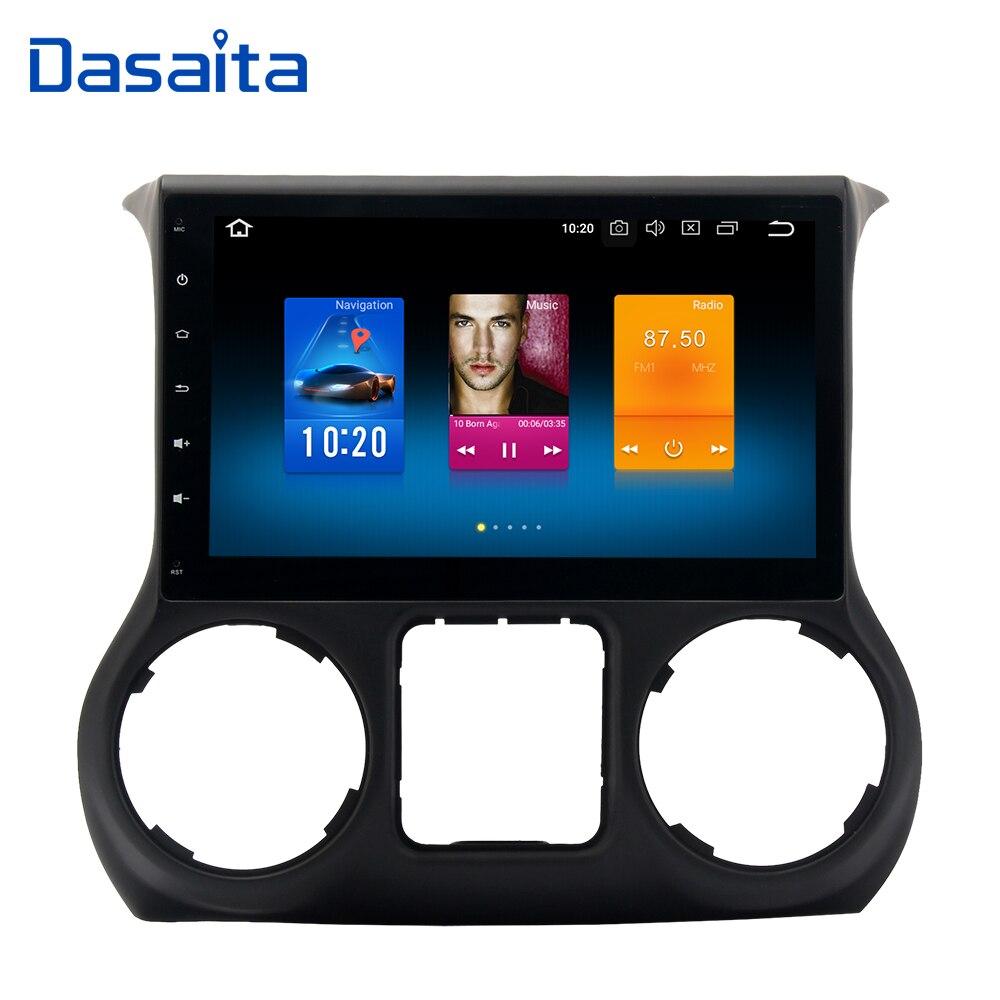 Dasaita 10.2 Android 8.0 Do GPS Do Carro Jogador de Rádio para Jeep Wrangler 2015 2016 com Núcleo octa 4 gb + 32 gb Auto Estéreo Multimídia