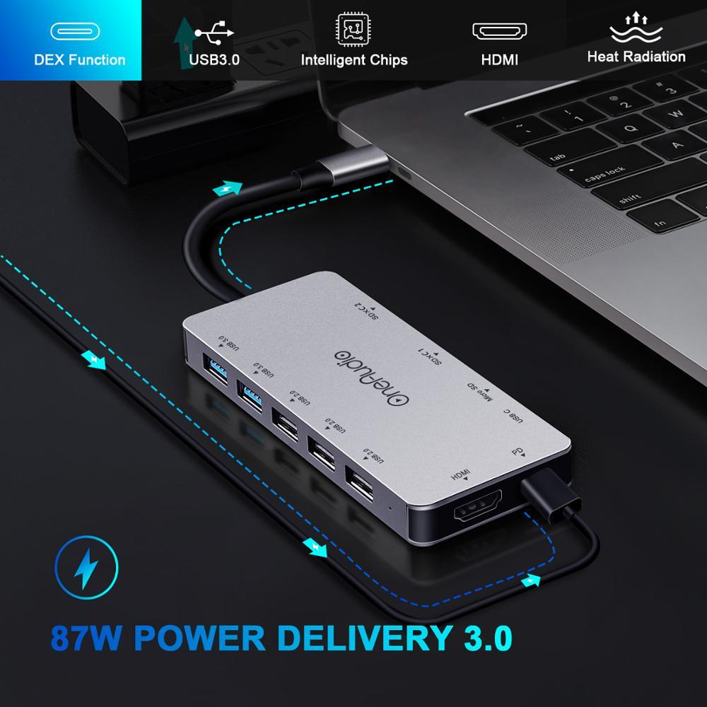 Image 2 - OneAudio 7/11 in 1 USB HUB C HUB to Multi USB 2.0 3.0 4K HDMI  Adapter Dock For MacBook Pro Accessories USB C Type C SplitterUSB Hubs