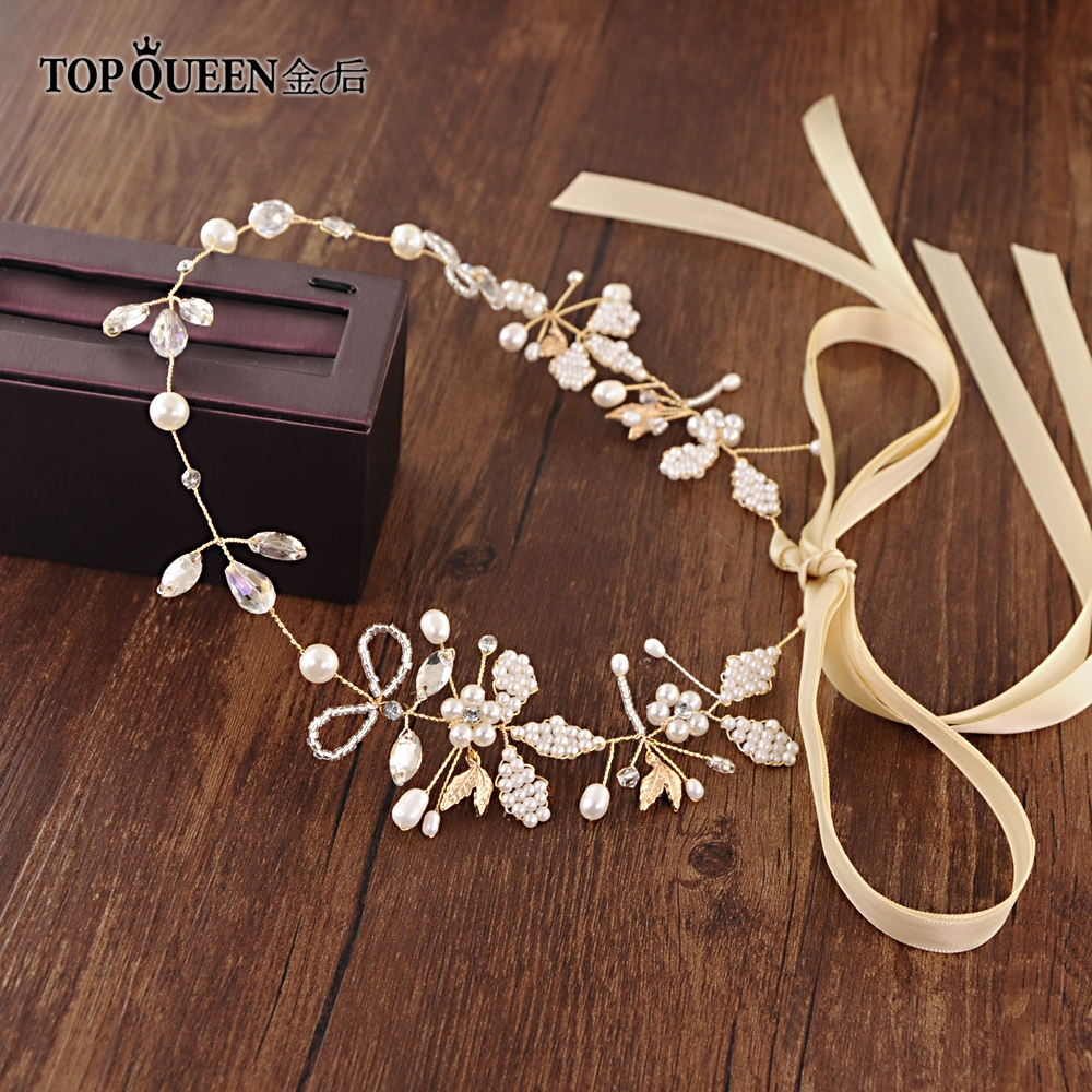 TOPQUEEN HP43 Handmade Wedding Rhinestone Pearls Flower Headbands Bridal Hair Accessories Braiding Tiara