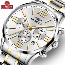 OLMECA Fashion Clock Military Watch Chronograph Waterproof Watches Wrist Watches for Men Classic Relogio Masculino Steel Watch olmeca fashion military clock relogio masculino 3atm waterproof watches chronograph wrist watch watches for men stainless steel