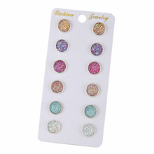 E0265 Bling Earring Sets 6 Pairs / Set Mixed Color Cute Round Stud Earrings For Women Fashion Jewelry Birthday Gift Wholesale(China)