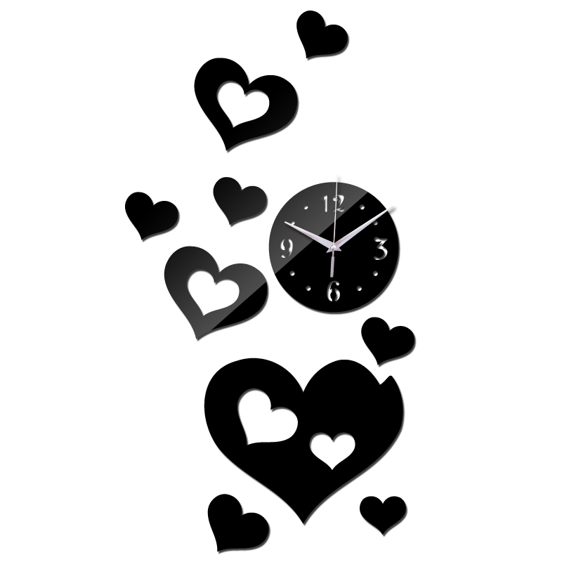 New Design Diy Hearts Decor Wall Watches For Living Room Brief Style Wall Quartz Clocks Mirror Acrylic Material Wall Sticker