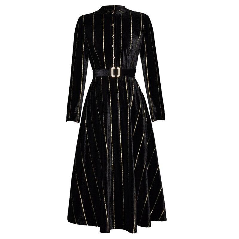 À Marque Robe Robes F210 Rayé Piste Mi Designer Noir Haute Qualité Chaud Femmes Manches Longues Longue Velours Hiver 0vwnn1qA