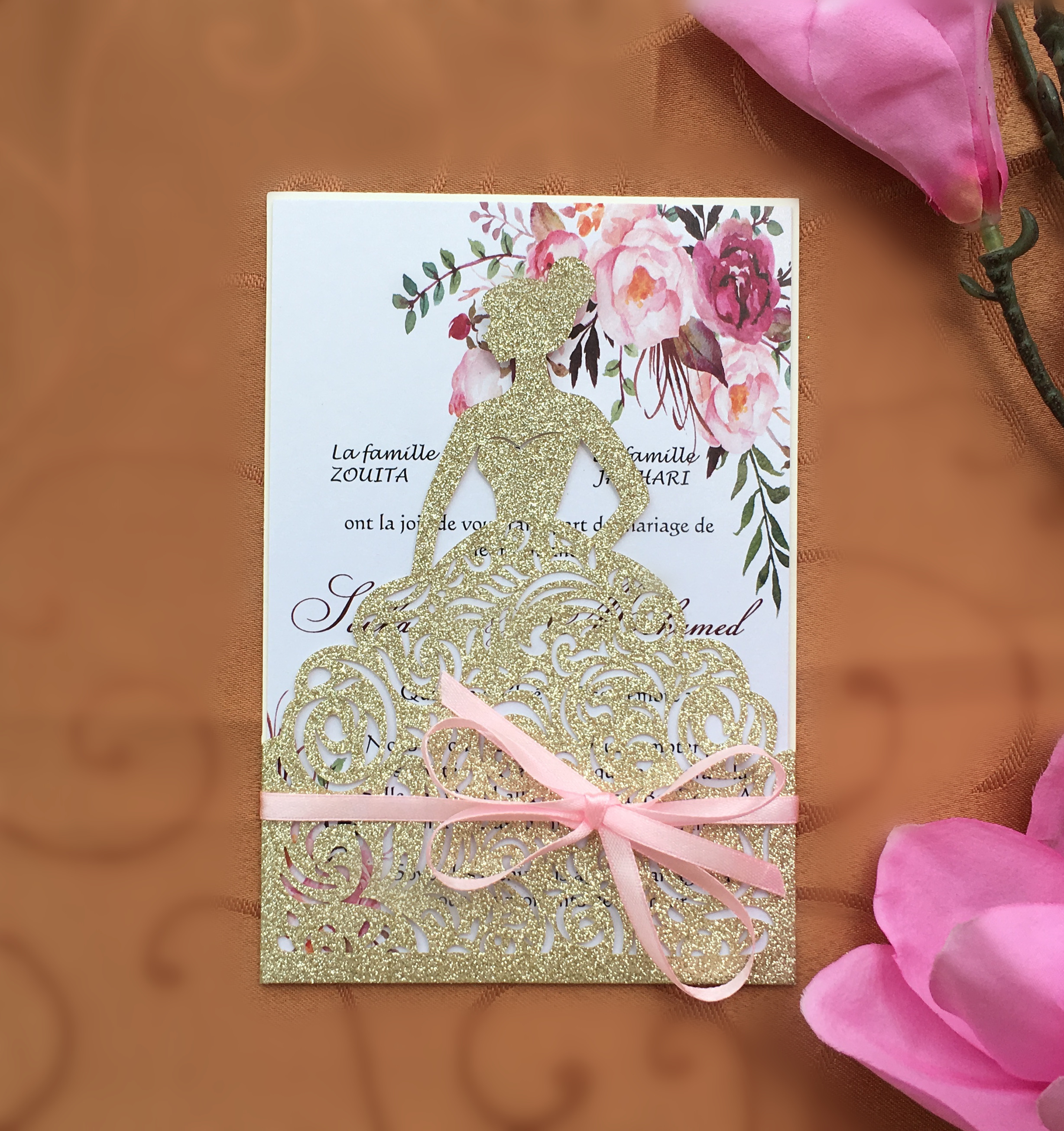 Customized Laser Cut Glitter Gold Wedding Party Invitations Card Lovely Girl Birthday Invitations 100PCS Express Shipping