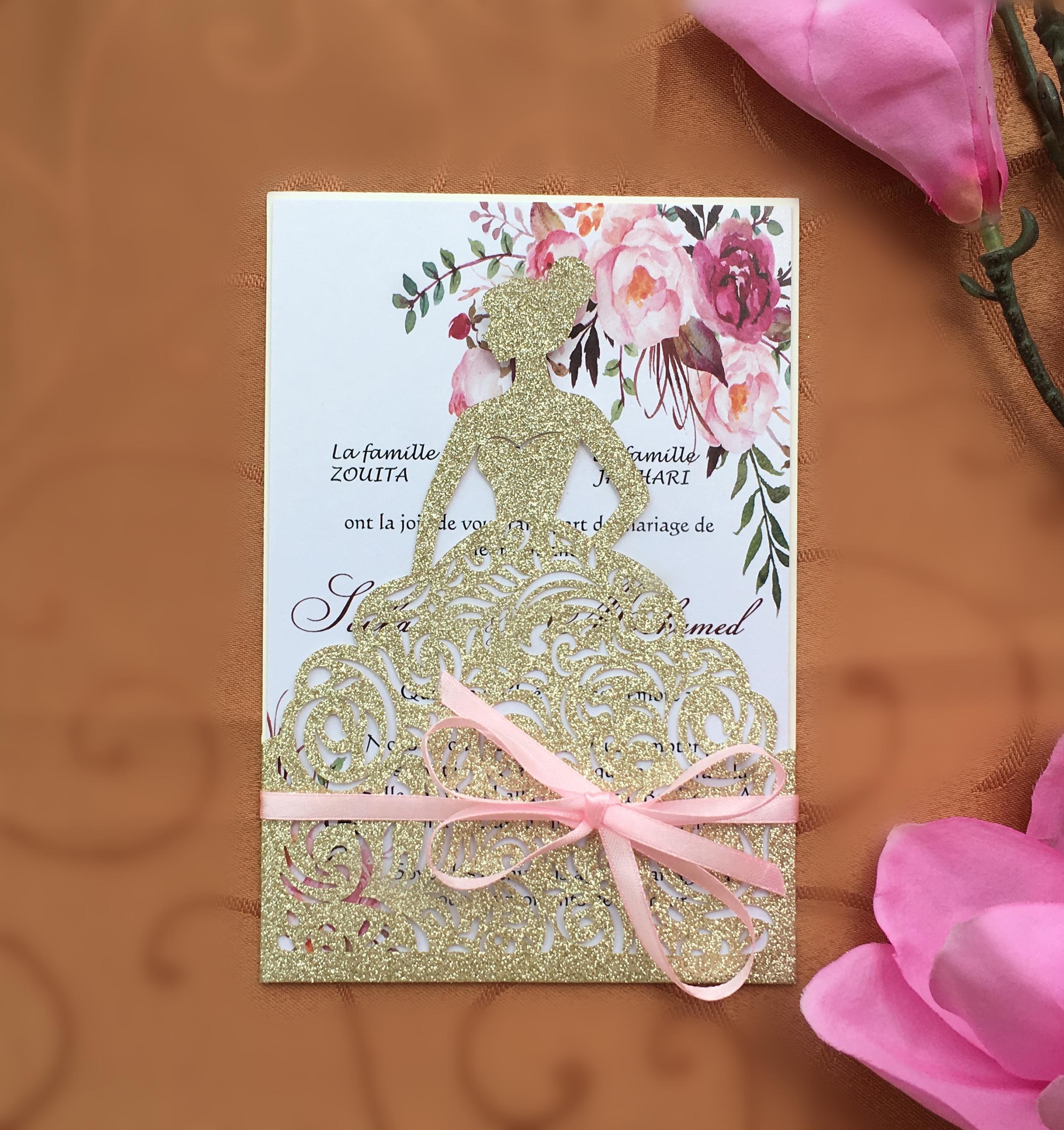 사용자 정의 레이저 컷 반짝이 골드 웨딩 파티 초대장 카드, 사랑스러운 소녀 생일 초대장, 100 pcs, 익스프레스 배송-에서카드 & 초대장부터 홈 & 가든 의  그룹 1