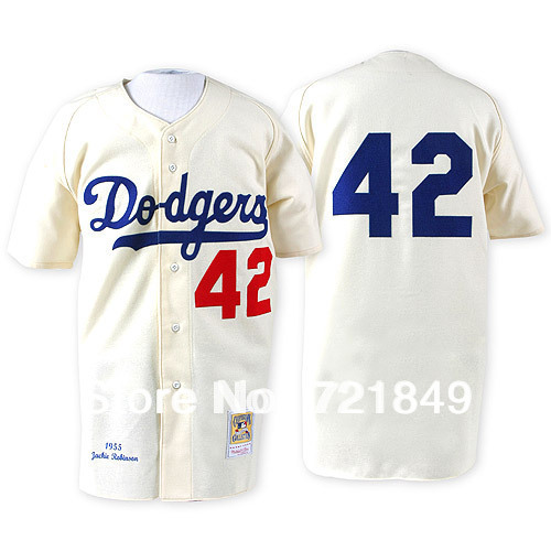 Men s Cooperstown Jersey Brooklyn Dodgers  42 Jackie Robinson Cream  throwback MN 1955 baseball jerseys a05e95caf49