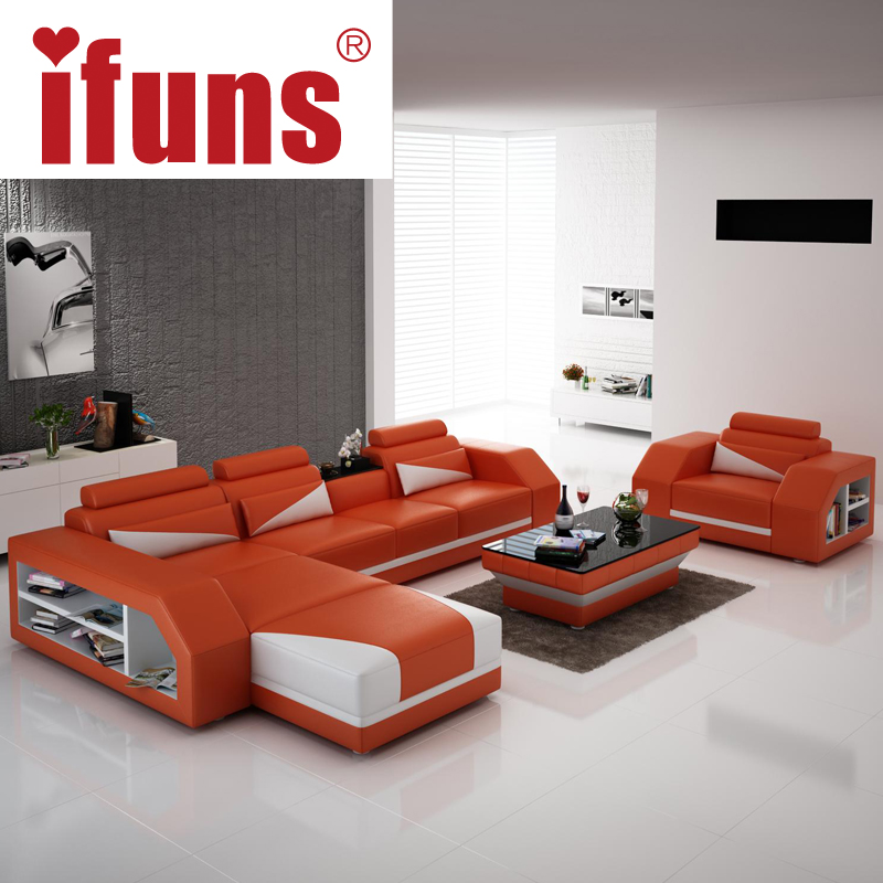 IFUNS American Modern Design Genuine Leather L Shaped Corner Sofa Recliner Brown Color Sectional Set Living Room Furniture