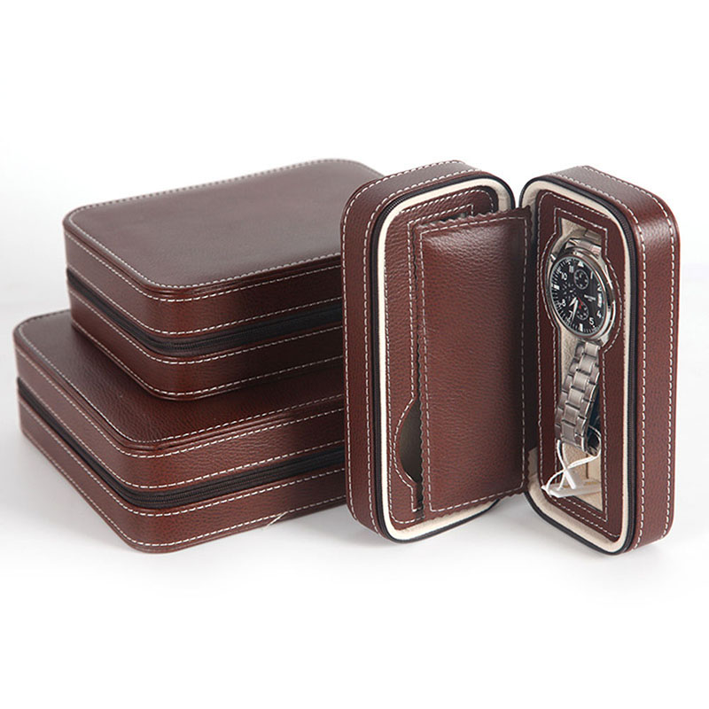 Portable 2 4 8 Grids Zipper Watch Box Lover Luxury PU Leather Watch jewelry Case Watch Organizer jewelry box Holder