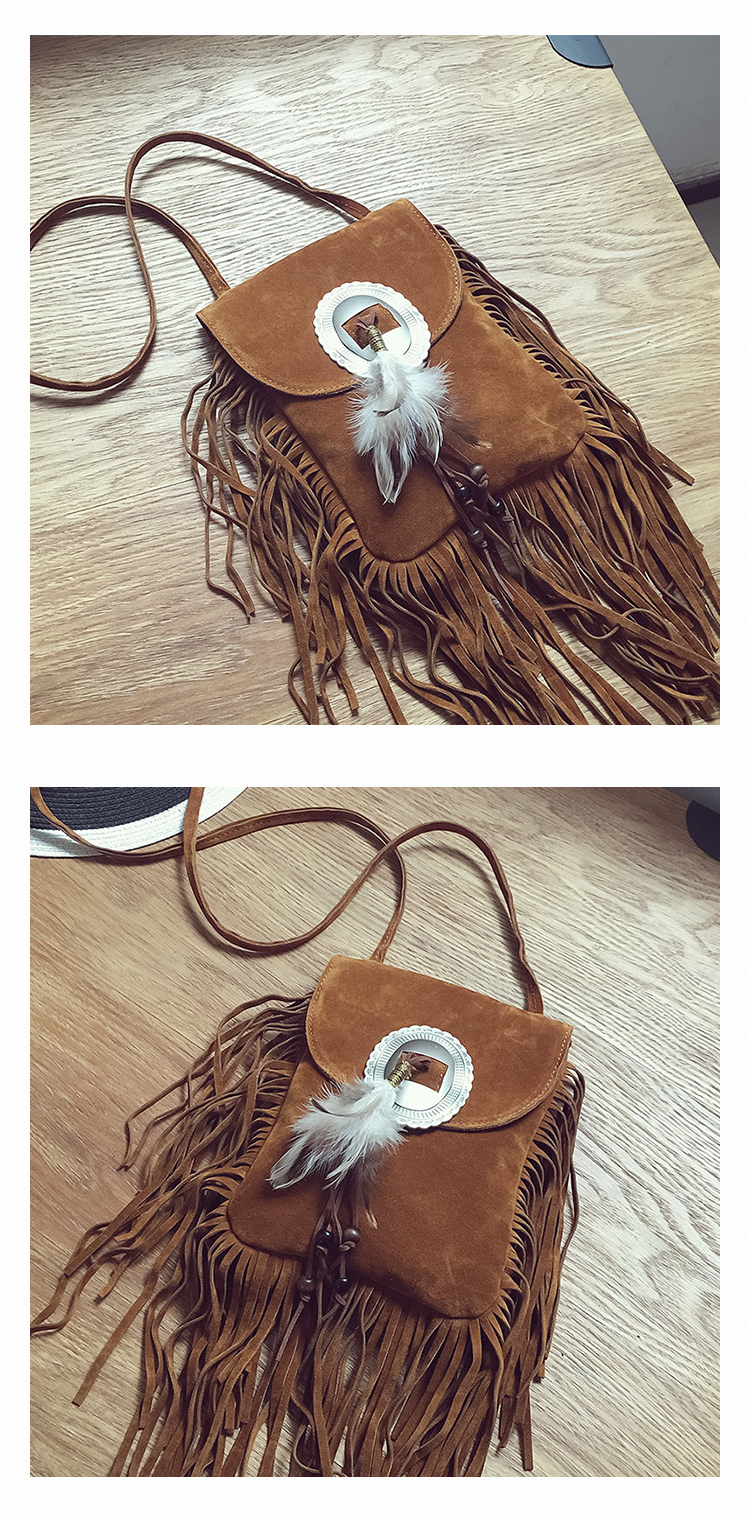 Female Small suede Bag Brown Beaded Feathers Hippie American Indian Tribal Bohemian Boho Chic Ibiza Style Pouch Bag (10)