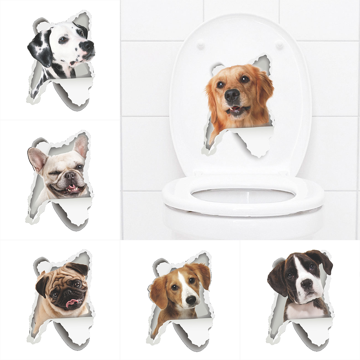 Us 082 25 Offcute 3d Wall Sticker Toilet Stickers Hole View Vivid Dogs Bathroom Home Decoration Animal Vinyl Decals Art Sticker Wall Poster In