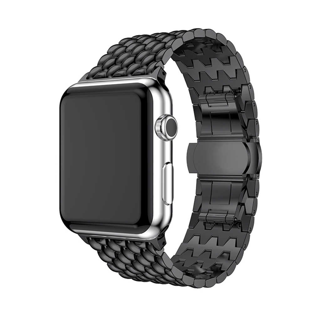 Butterfly buckle Watchband For Apple Watch Band 38mm 42mm Stainless Steel For iWatch Band 40mm 44mm Series 2 3 4 Bracelet Strap