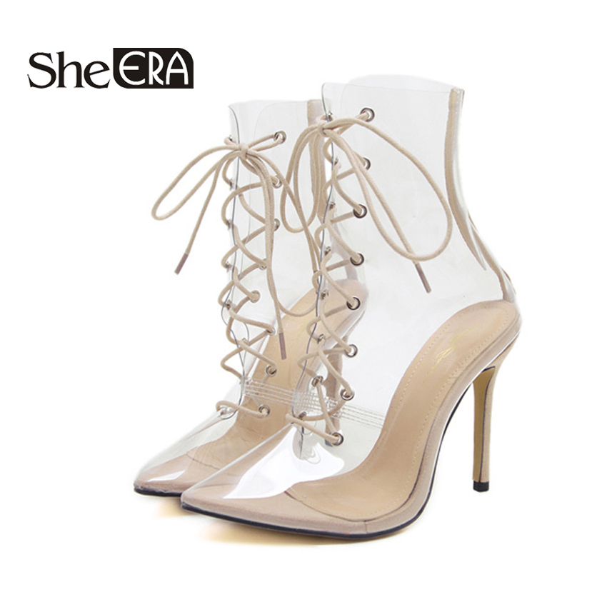 4ae32c05919 Hot New Women Ankle Boots Pointed Toe PVC Transparent Women Boots Clear  High Heels Summer Shoes