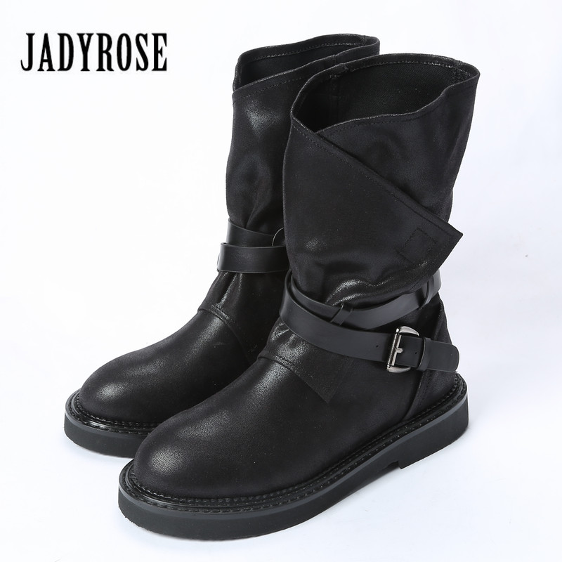 Jady Rose Black Punk Style Women Autumn Winter Ankle Boots British Flat Platform High Boot Straps Design Martin Boots jady rose casual gray women ankle boots straps genuine leather short flat botas autumn winter female platform martin boot