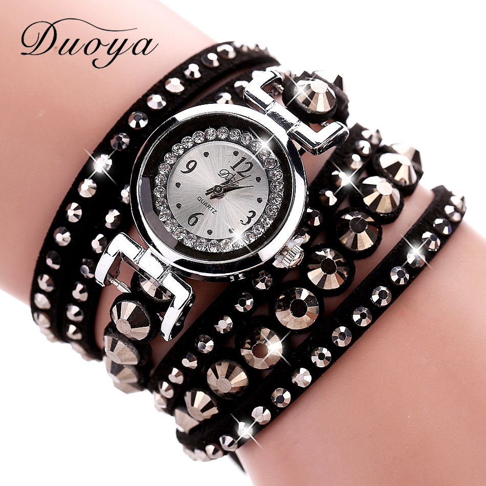 где купить 2017 New Duoya Women Fashion Watch Silver Luxury Dress Crystal Bracelet Watches For Women Wristwatch Quartz Vintage Casual Watch по лучшей цене