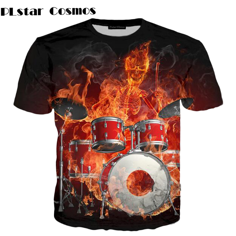 PLstar Cosmo DJ Fire Skull Paly Drums Colorful Discs3D Over Print T Shirts Short Sleeve Hipster Funny unisex tops
