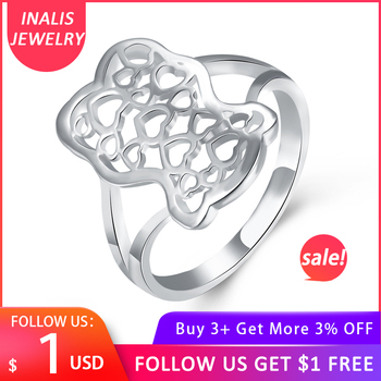 INALIS Classic Art Hollow Heart to Heart Women's Rings Top Quality For Women Silver Plated Jewelry Gift