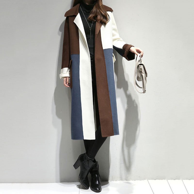 Casual Patchwork Long Coat For Women Loose Pockets Wool Coat And Jacket Open Stitch Turn Down