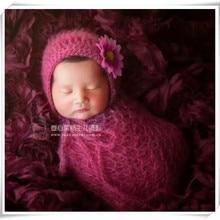 Mohair newborn bonnet Baby photography props Handknit wrap