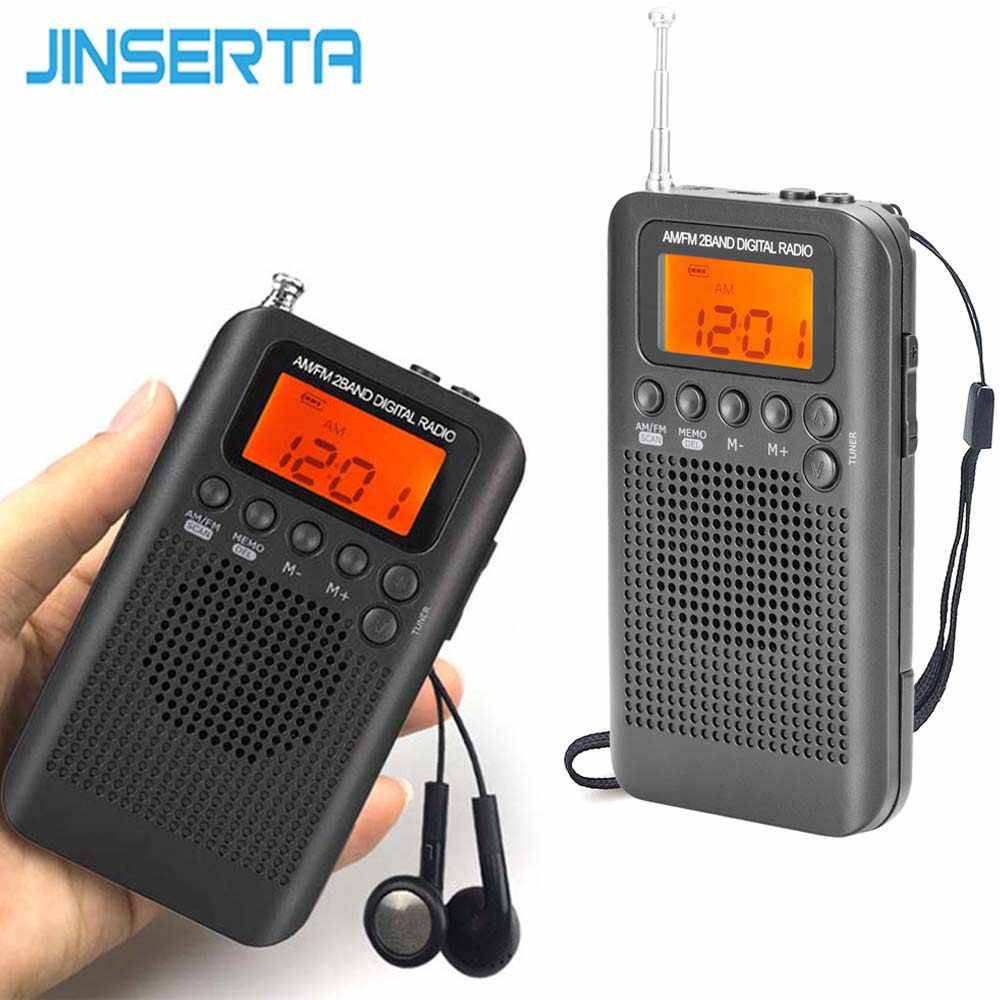 JINSERTA Portátil Mini FM/AM Radio Speaker Music Player com Despertador LCD Display Digital Suporte Da Bateria e USB alimentado