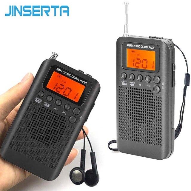 Jinserta 휴대용 미니 fm/am 라디오 스피커 음악 플레이어 알람 시계 lcd 디지털 디스플레이 지원 배터리 및 usb 전원