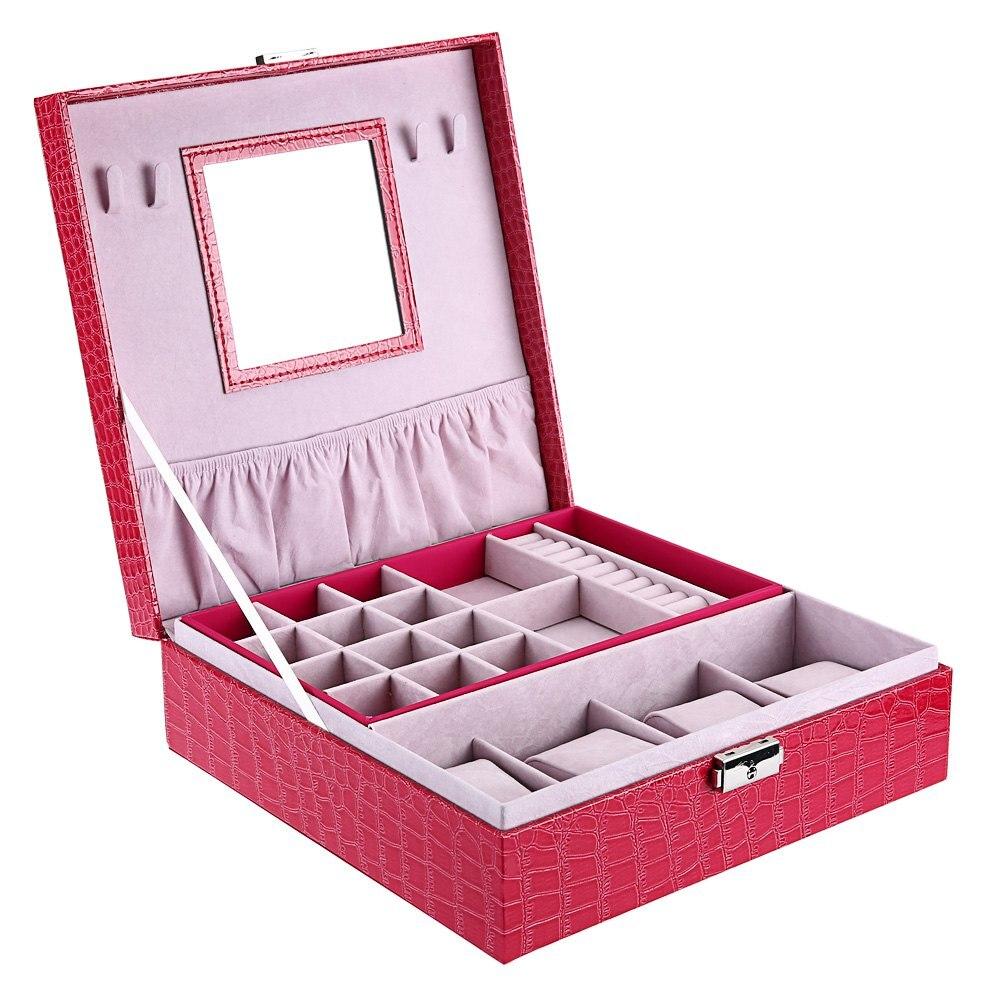 ФОТО 2017 New PU Watch Boxes Cases Watch Display Box Flipping Jewelry Storage Organizer with Mirror & Lock Watch Case Box Holder Caja