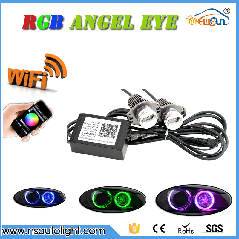 Free Shipping 24W E90 E91 led marker angel eyes rgb headlight halo rings conversion kit  with wifi control free shipping