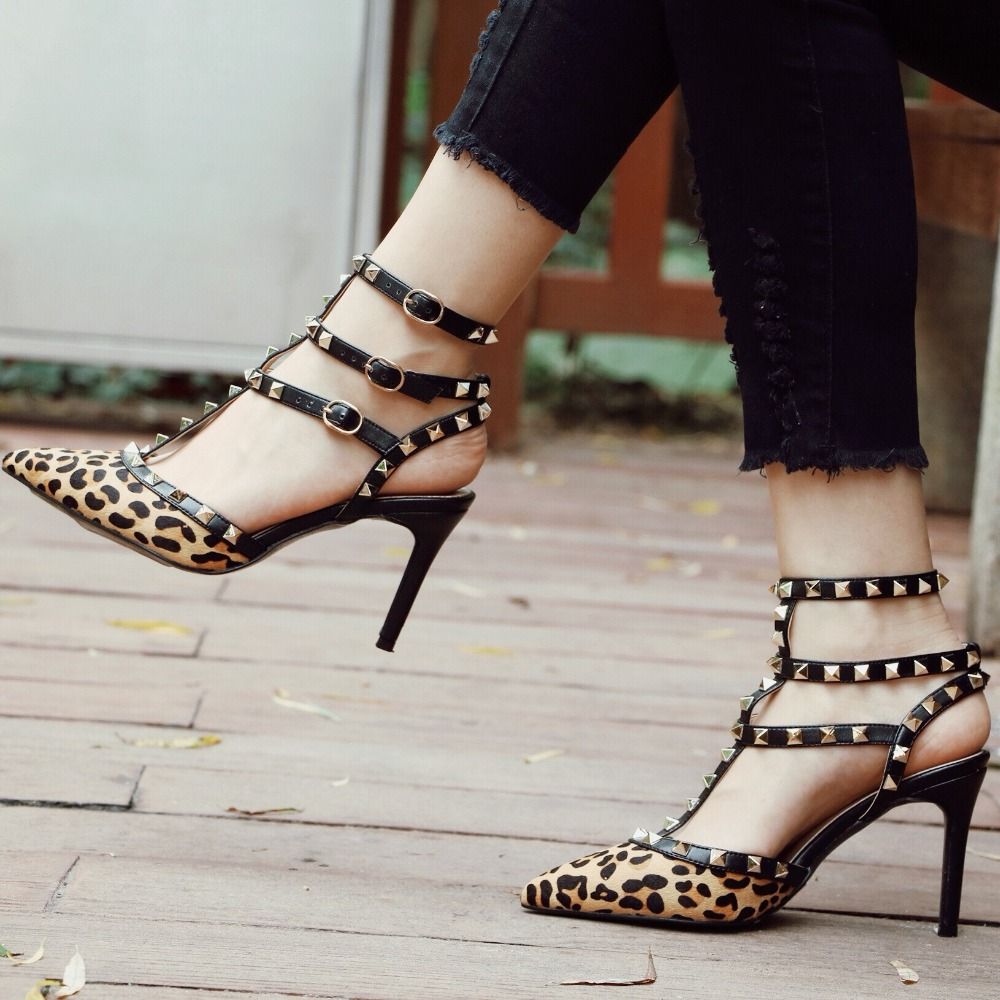 2018 Spring Summer New Hot Sale Sexy Leopard Sandals Women Strap Buckle High Heels Spikes Shoes Girl Customized Free Dropship lanyuxuan 2017 new hot sale sandals