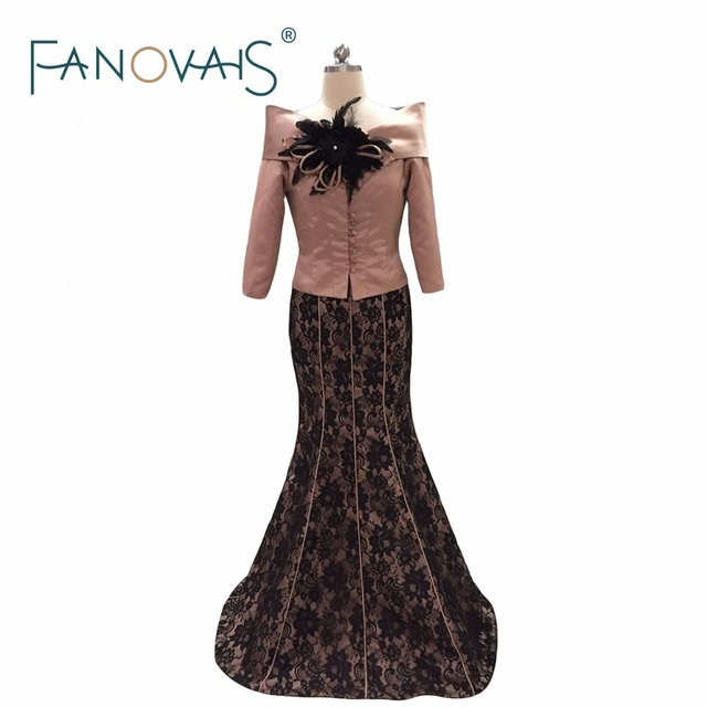 2017 Autumn Winter Mother Of The Bride Dresses With Jacket Floor Length Three Quarter Sleeve