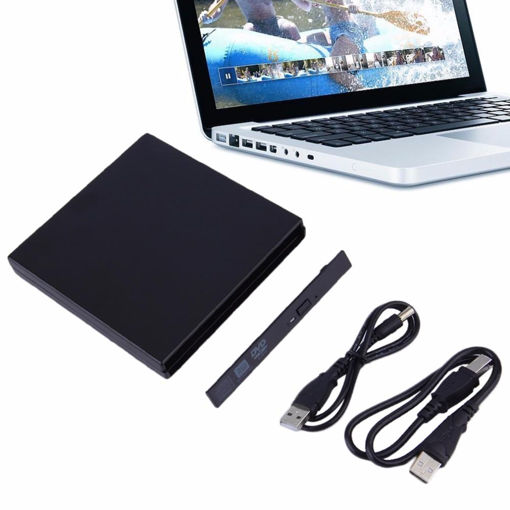 Portable USB 2.0 DVD CD DVD-Rom IDE External Case Slim For Laptop Notebook Black External Hard Drive Disk Enclosure