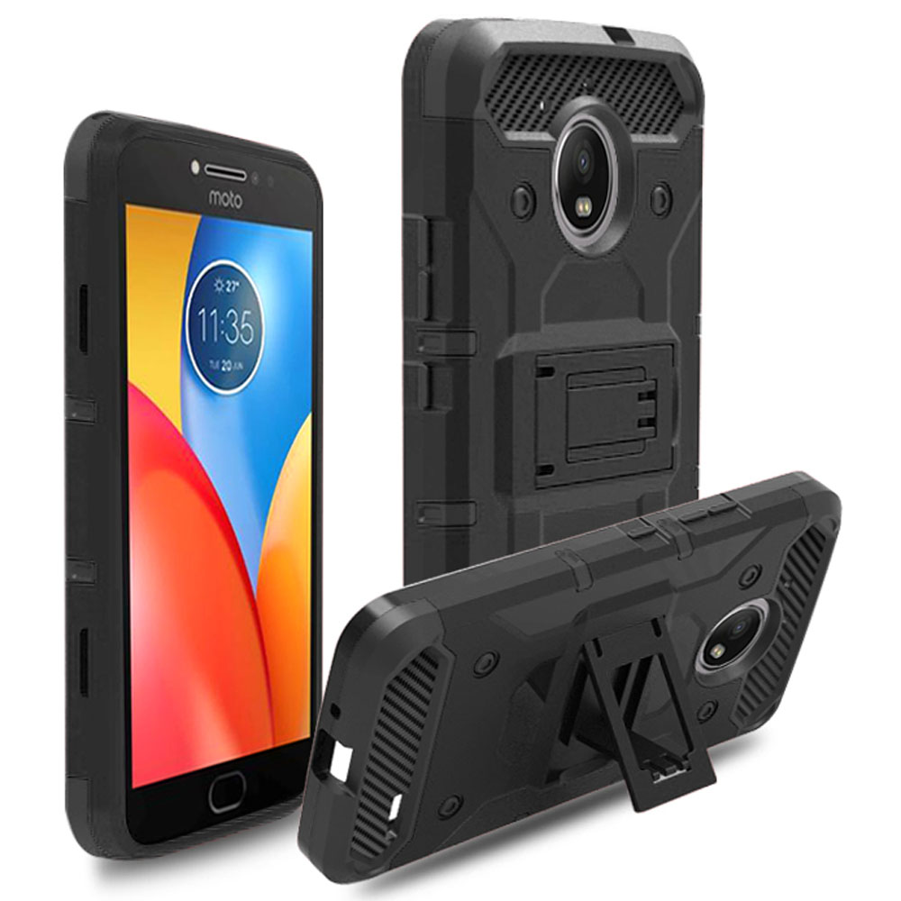Heavy Duty Hybrid Rugged Case With Belt Clip Holster Cover For <font><b>Motorola</b></font> Moto <font><b>E4</b></font> <font><b>XT1762</b></font> XT1763 XT1766 XT1772 (US & EU Version) image