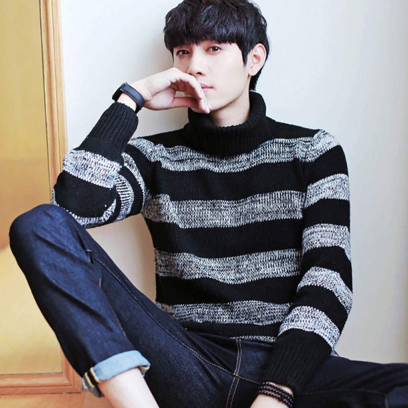 Turtleneck Sweater Men Winter Fashion Brand Clothing Men's Sweaters Warm Slim Fit High Neck Men Pullover Knitted Sweater Men B