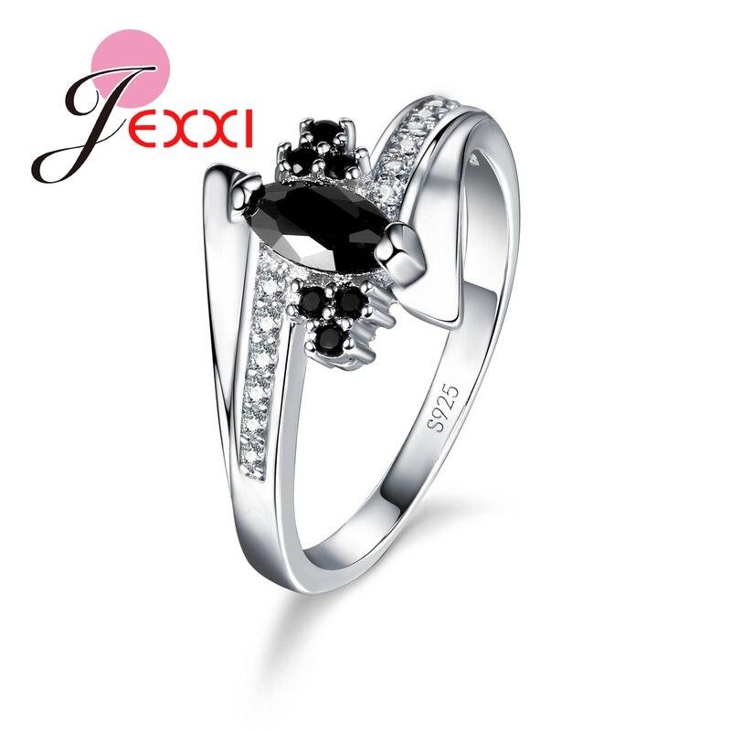 Melhor presente 925 prata esterlina feminino cristal austríaco anéis de noivado senhoras charme jóias preto cristal dedo aneis